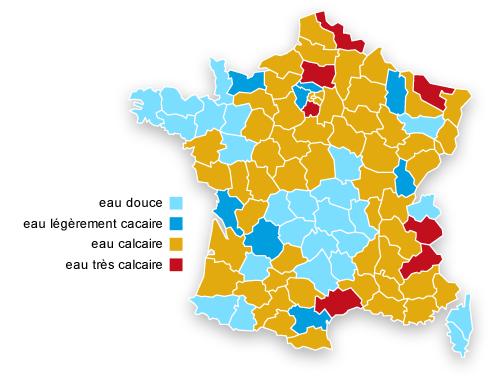 Teneur en calcaire de l'eau en France